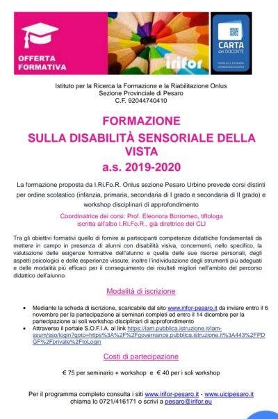 Formazione sulla disabilità sensoriale della vista a.s. 2019/2020