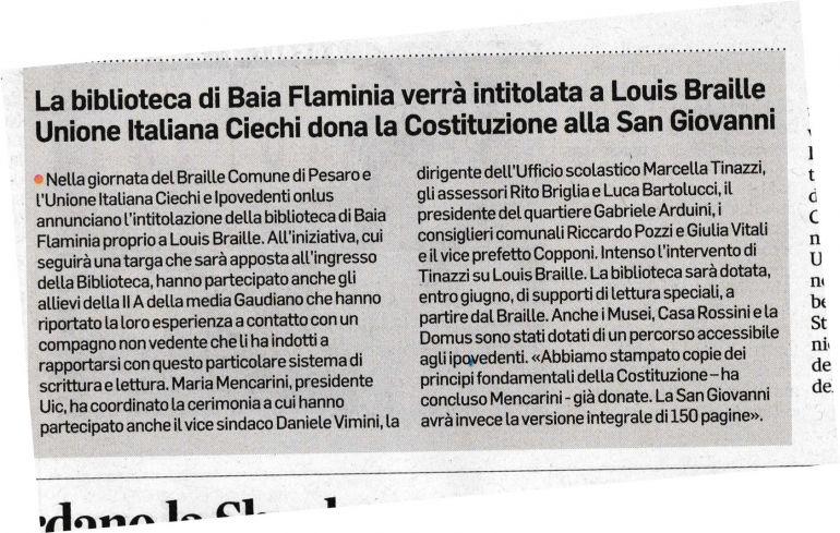 Articolo sul Corriere Adriatico del 22 02 2017. La biblioteca di Baia Flaminia verrà intitolata a Louis Braille
