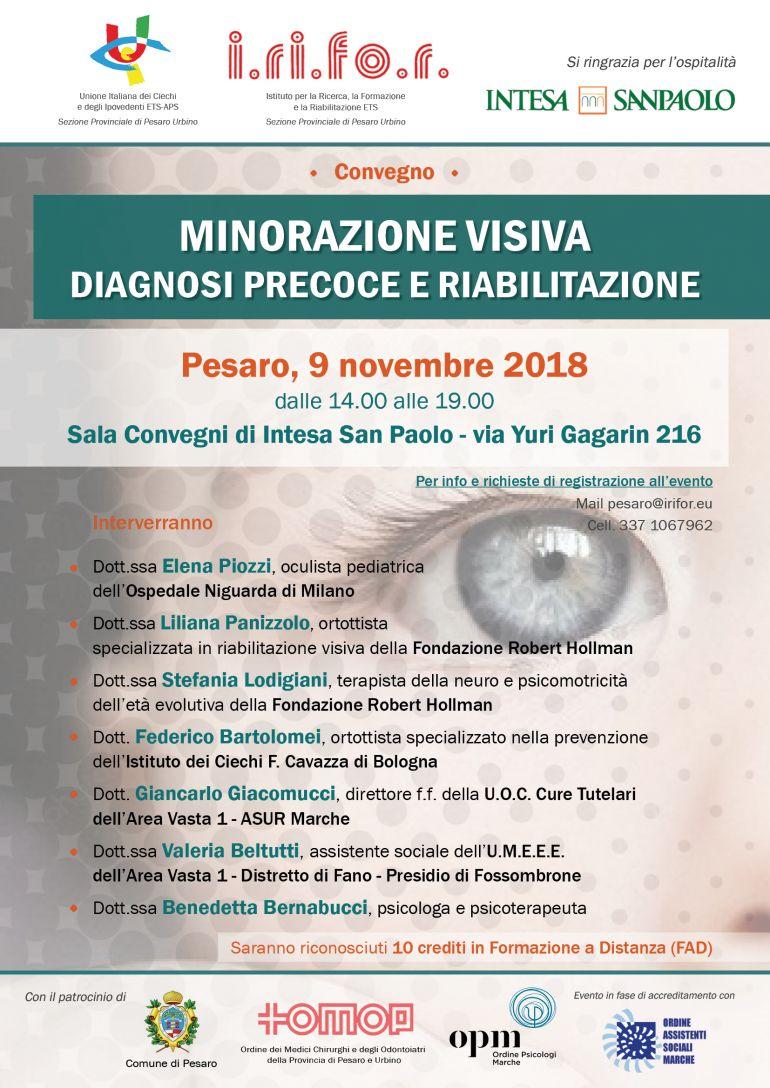 CONVEGNO ECM 9.11.18 MINORAZIONE VISIVA: DIAGNOSI PRECOCE E RIABILITAZIONE