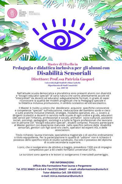 Master di I livello in pedagogia e didattica inclusiva per gli alunni con disabilita sensoriali
